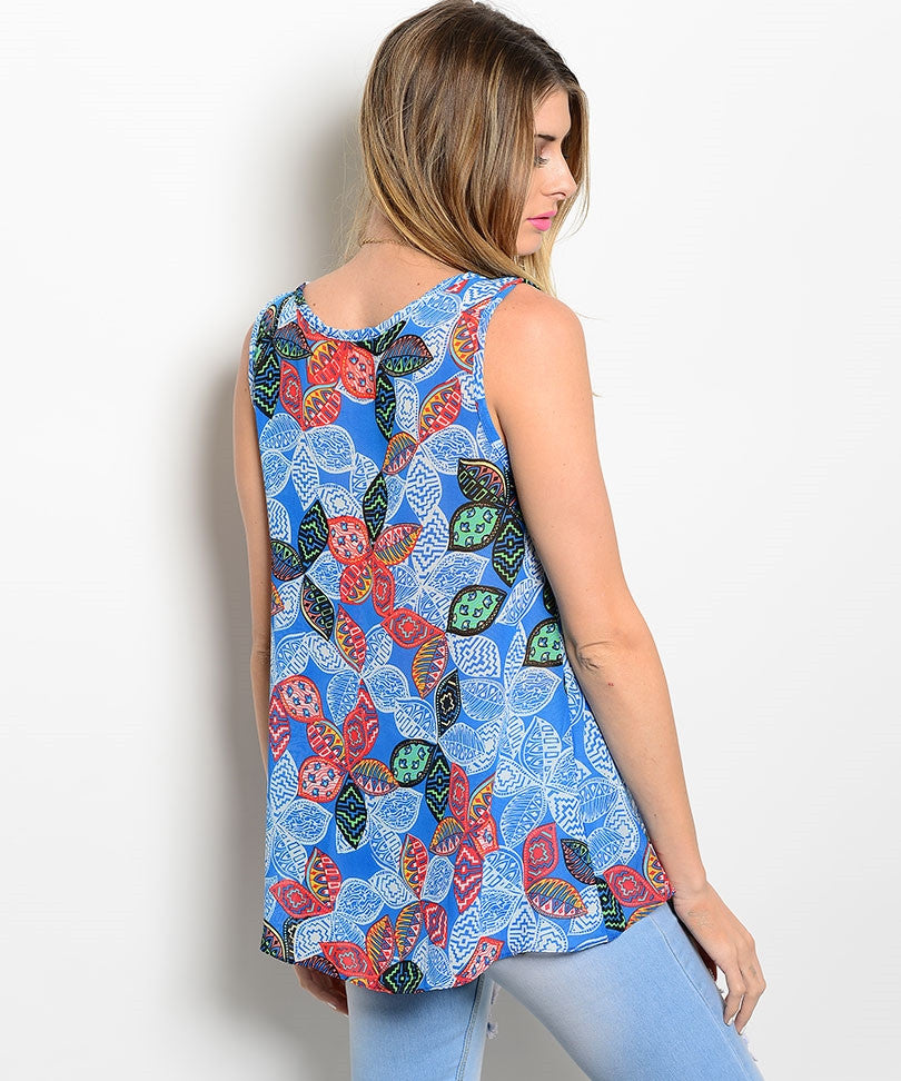 Blue Plumeria Pattern Top