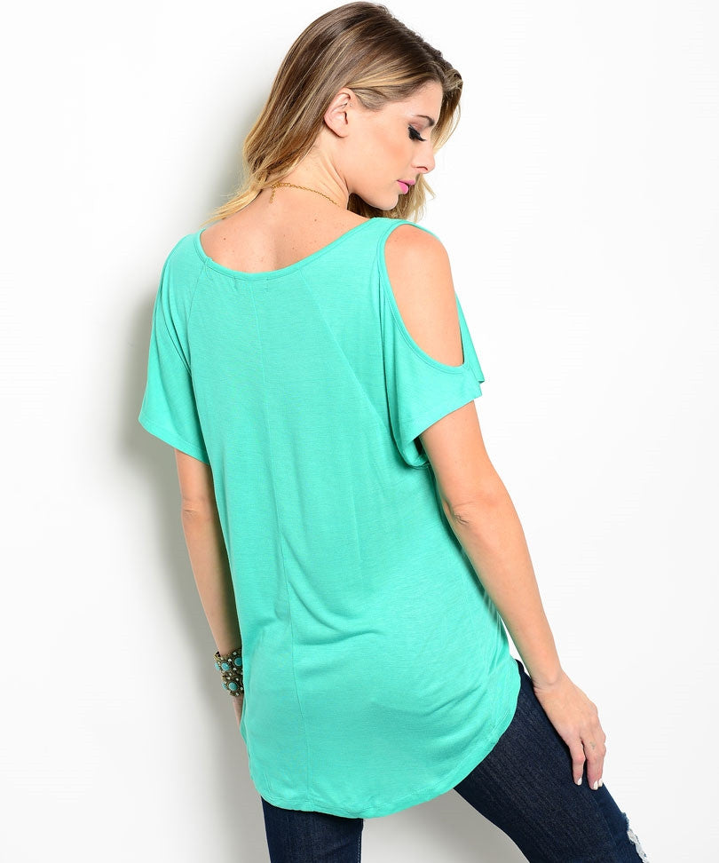 Short Sleeve Aquamarine Open Shoulder Top