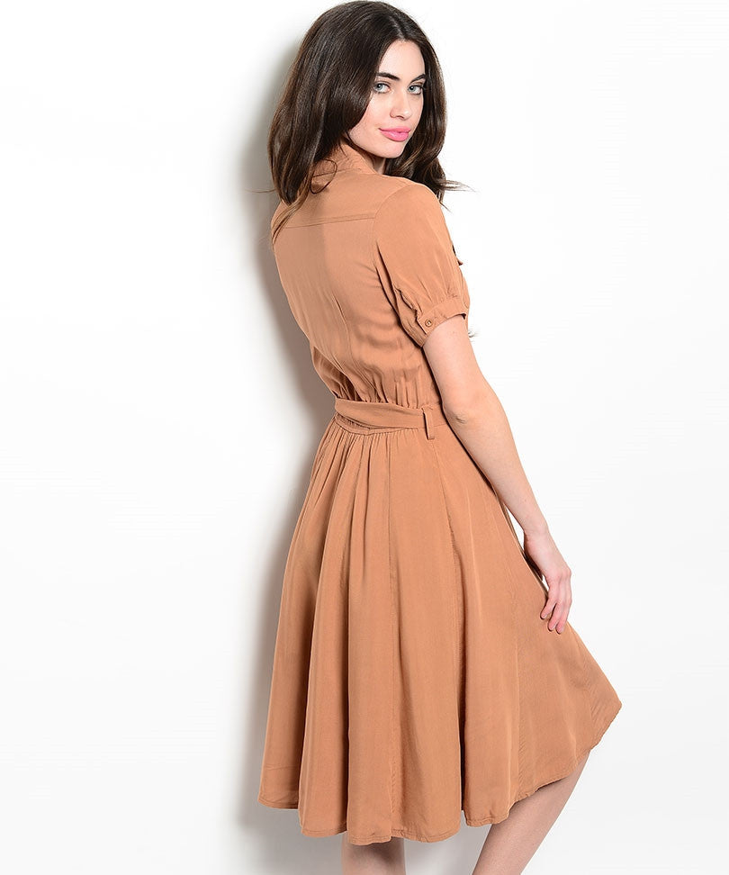 Short Sleeve Brown Shirt Dress