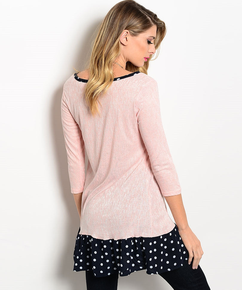 Light Pink White Dot on Navy Top