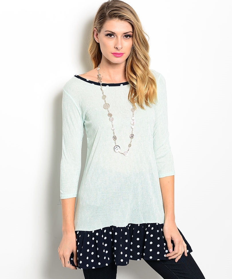Mint Top White Dot on Navy Top