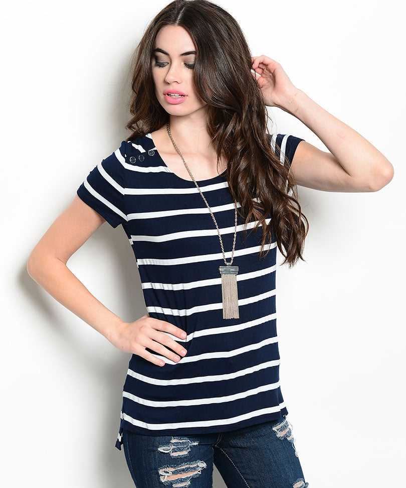 Navy White Striped Sailor Top
