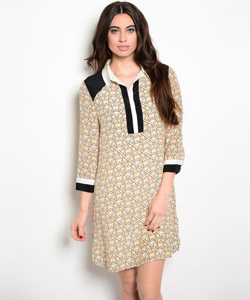 Silk Geometric Shift Dress