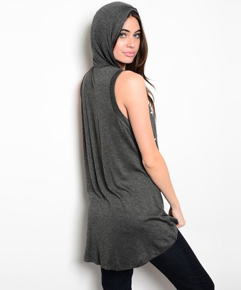 Moon Star Printed Sleeveless Top with Hood (Sold Out)
