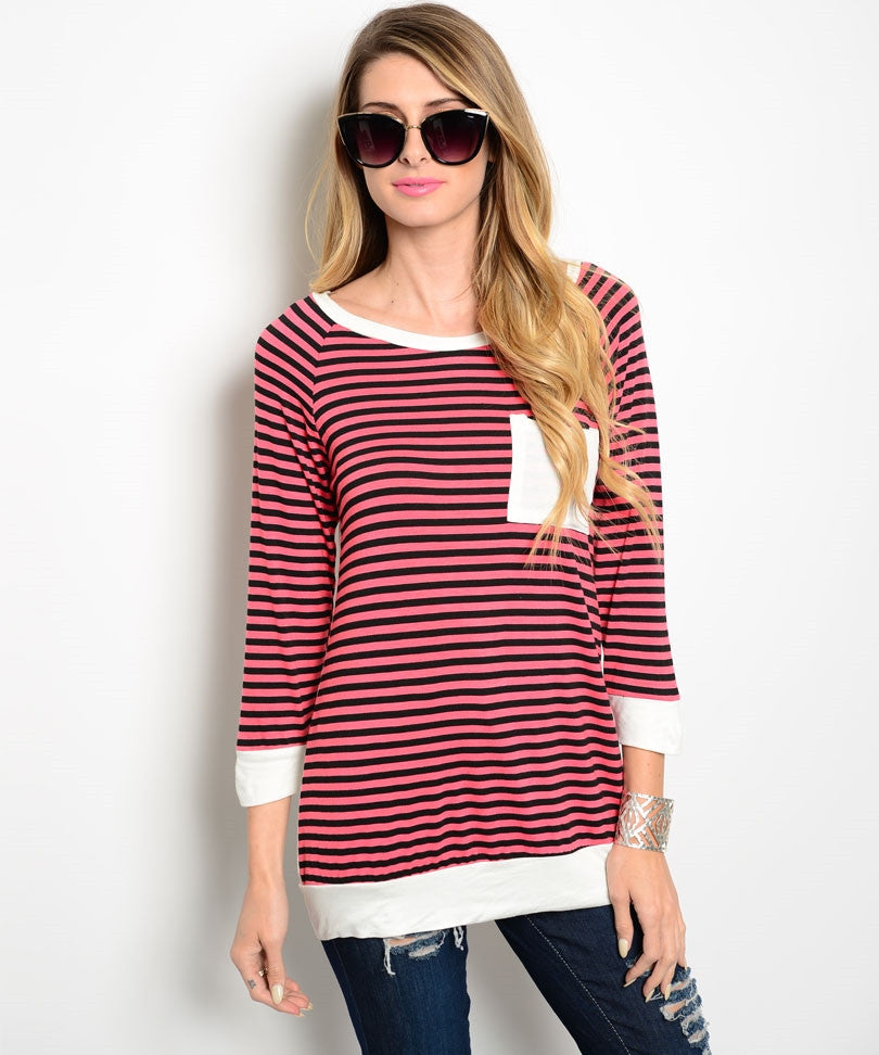 Coral/Black Striped Over White Top