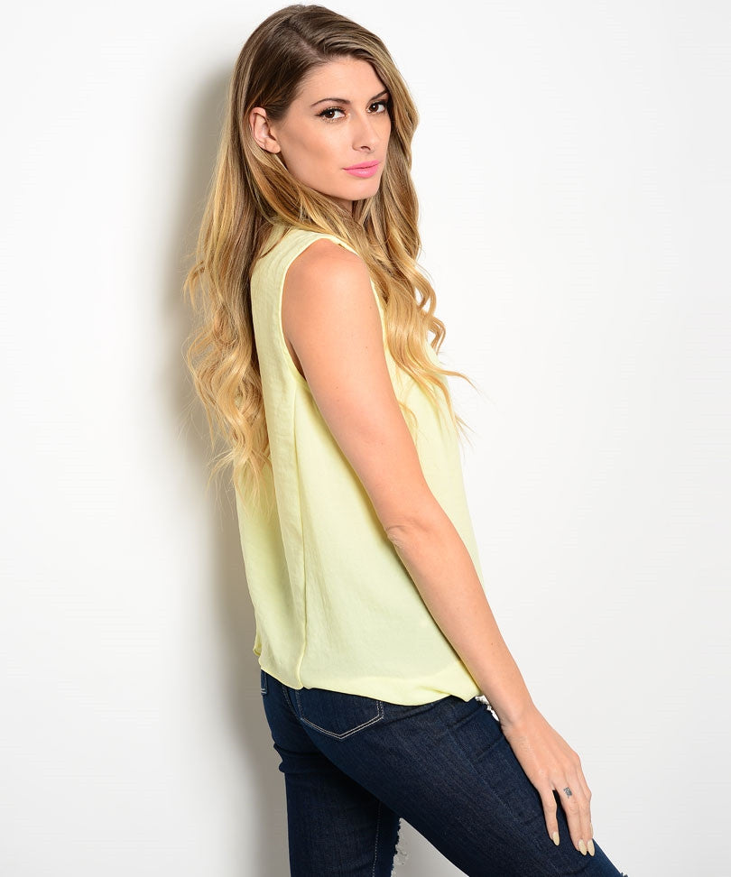Yellow V-neck Draped Top