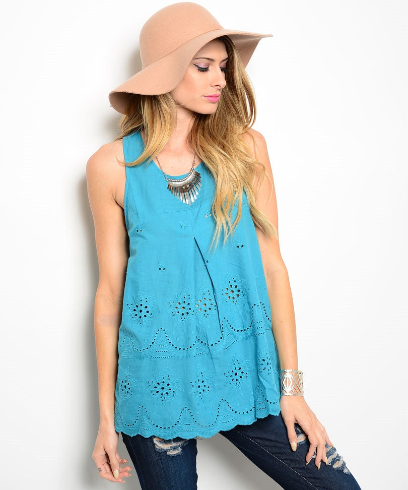 100% Cotton Teal Scalloped Top