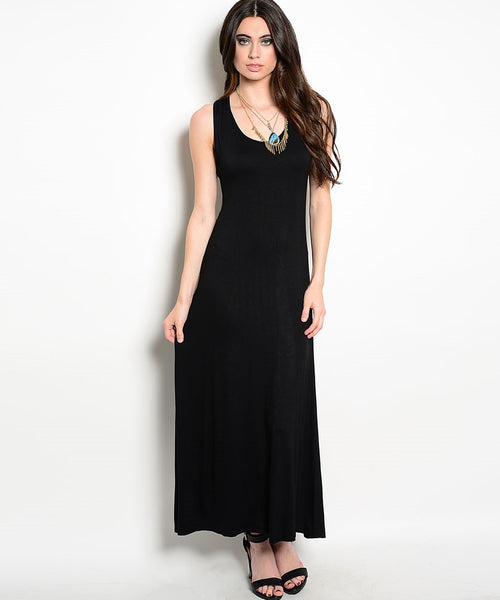 Black Sleeveless Racerback Long Dress