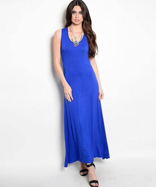 Navy Blue Sleeveless Racerback Long Dress
