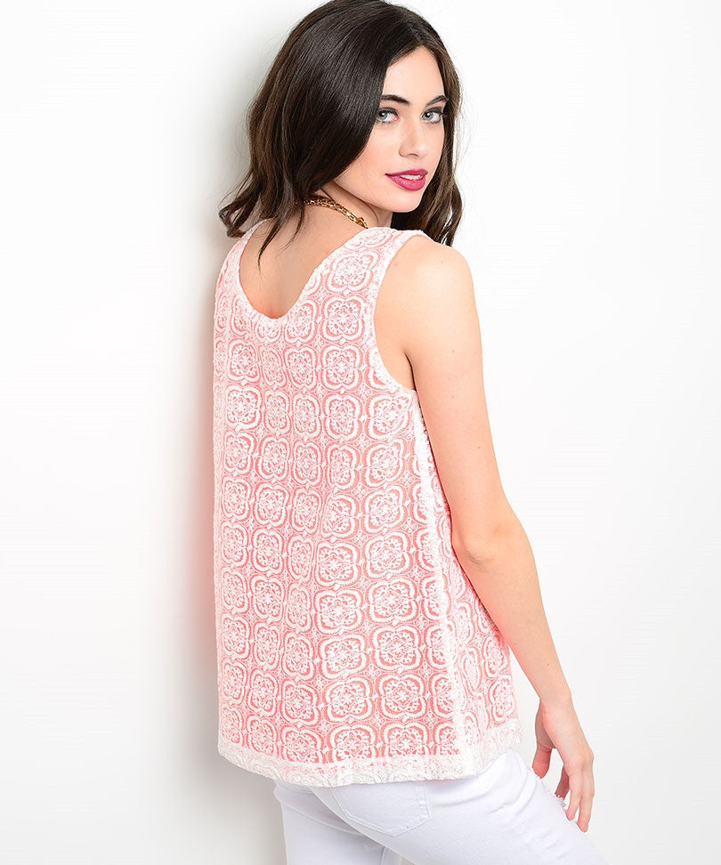 Coral White Lace Sleeveless Top