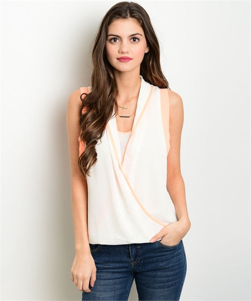 Sleeveless Peach Wrap Top