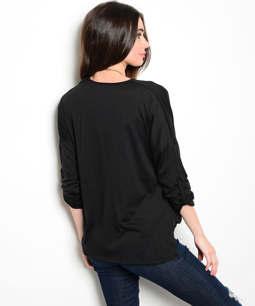 Black Wrap Dolman Top