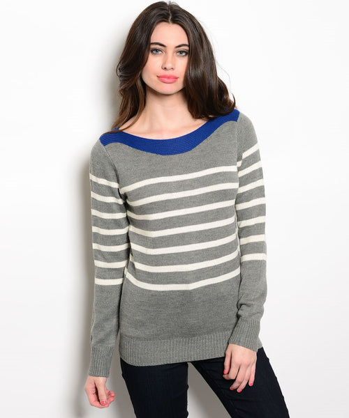 Gray White Stripe Sweater