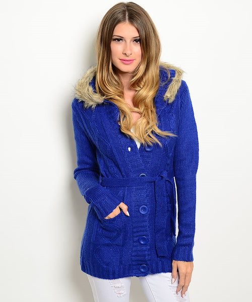 Navy Blue Hooded Sweater Jacket