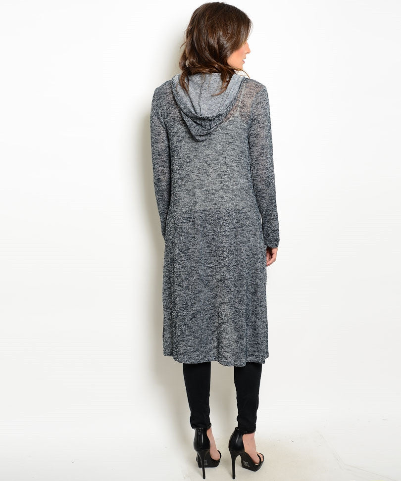 Long Charcoal Hooded Cardigan (Sold Out)