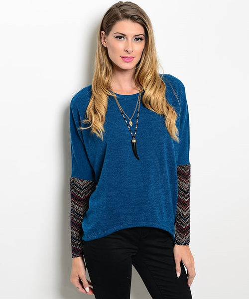 Teal Contrast Sleeve Sweater