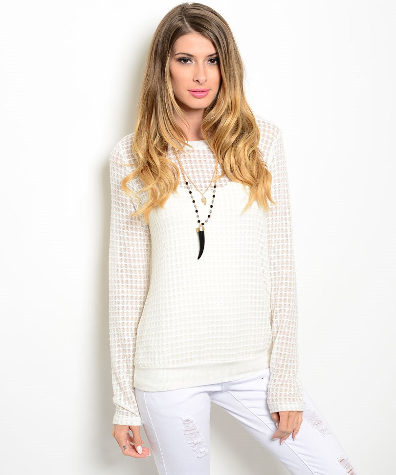 Sweet Claire Geometric White Sweater
