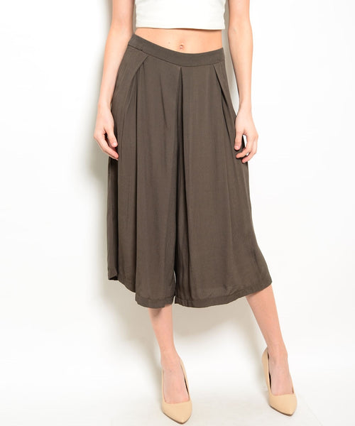Olive Brown Culottes Pant Skirt