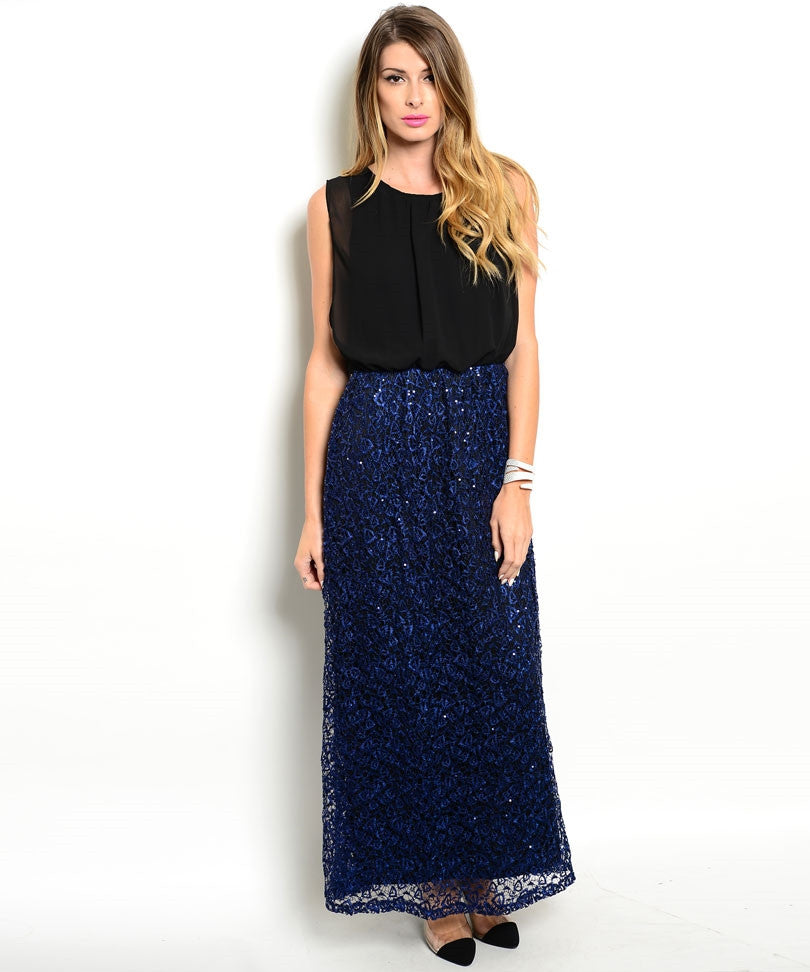 Black Blue Sequins Gown Dress