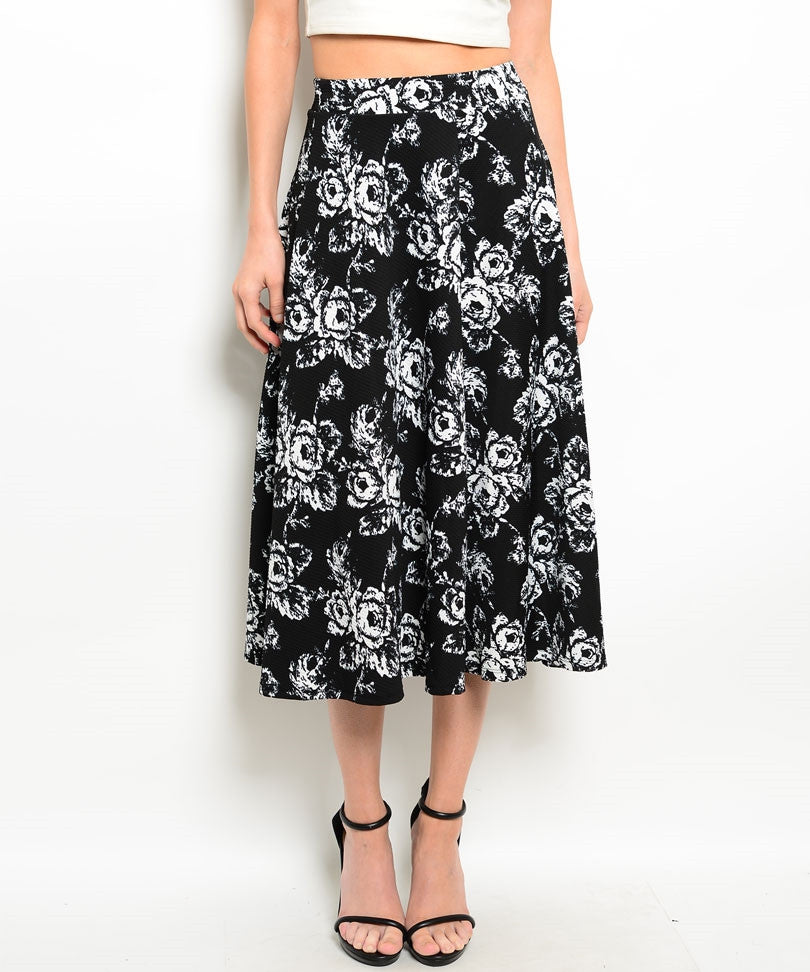 Black White Rose Print Skirt