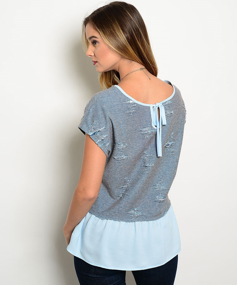 Gray Tattered Flounce Top