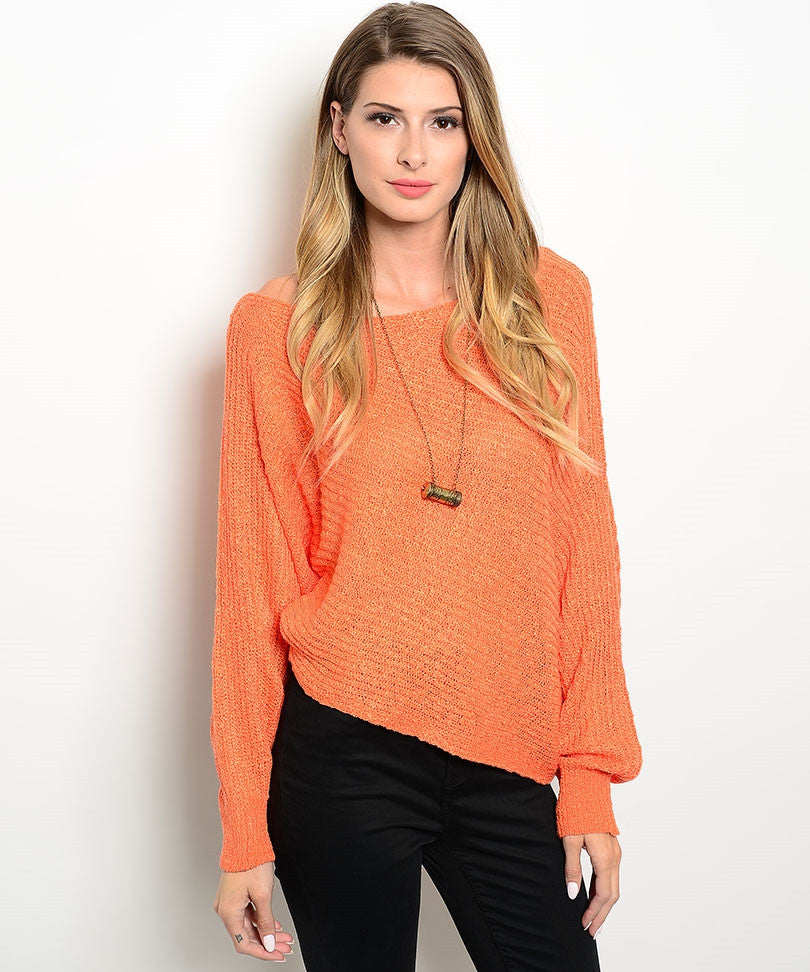 Orange Dolman Knit Sweater