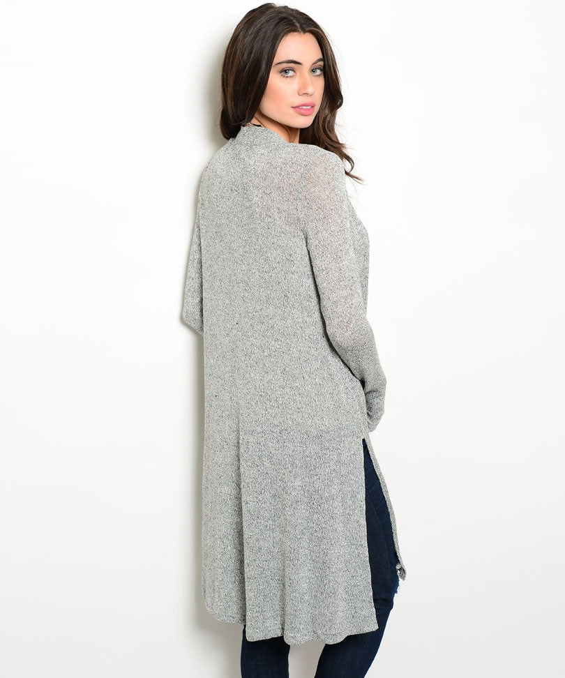 Long Light Gray Sweater Cardigan