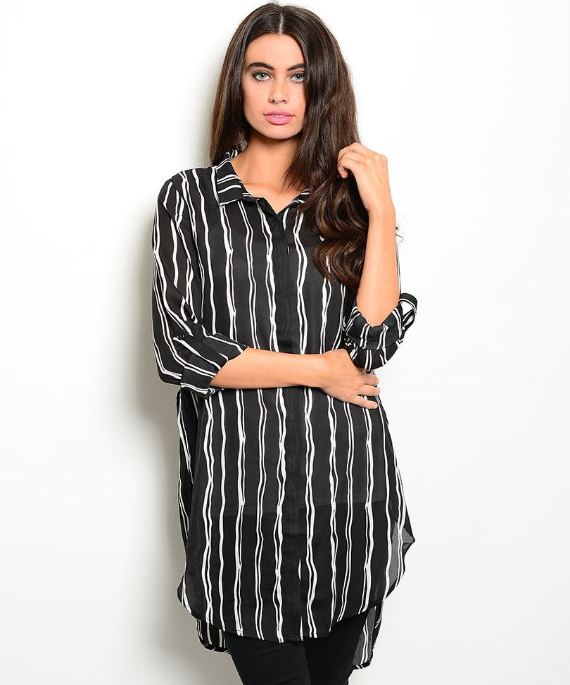Stencil Striped Tunic Top