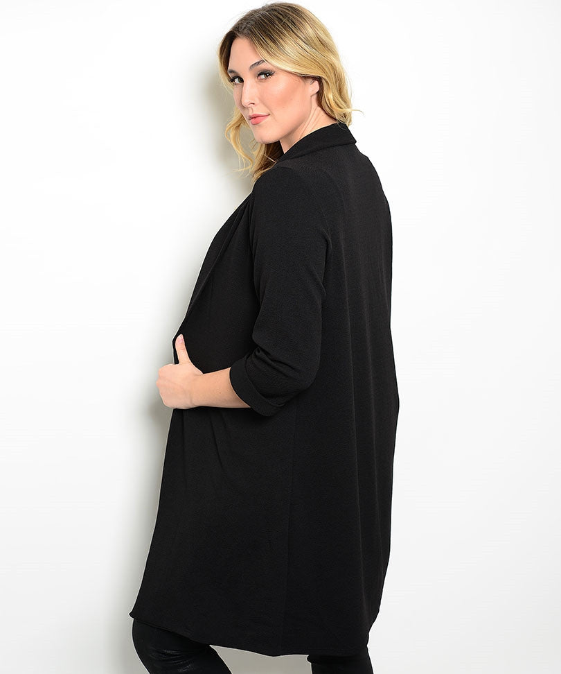 Black Plus Size Cocoon Coat