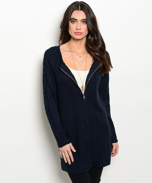 Long Navy Sweater Cardigan