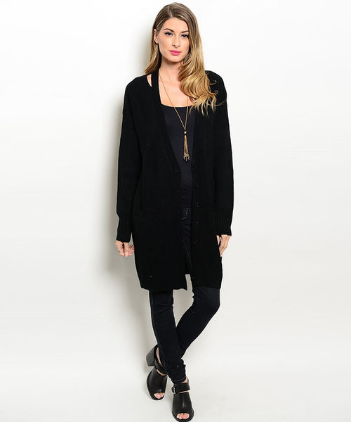 Long Black Sweater Cardigan
