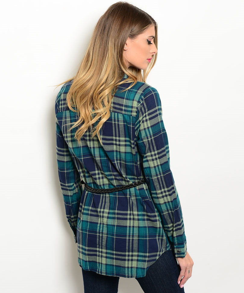 Green Blue Plaid Button Down Top with Black Skinny Belt