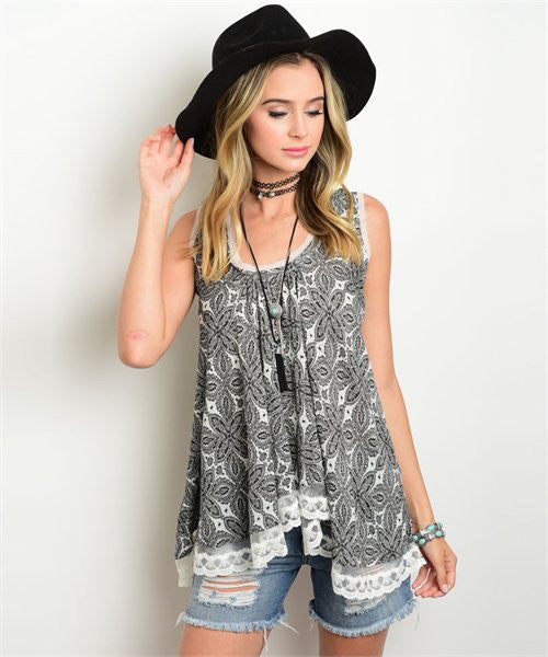 Sleeveless Geometric Print Lace Top