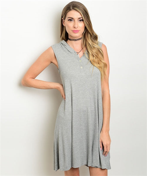 Sleeveless Hooded Gray Dress