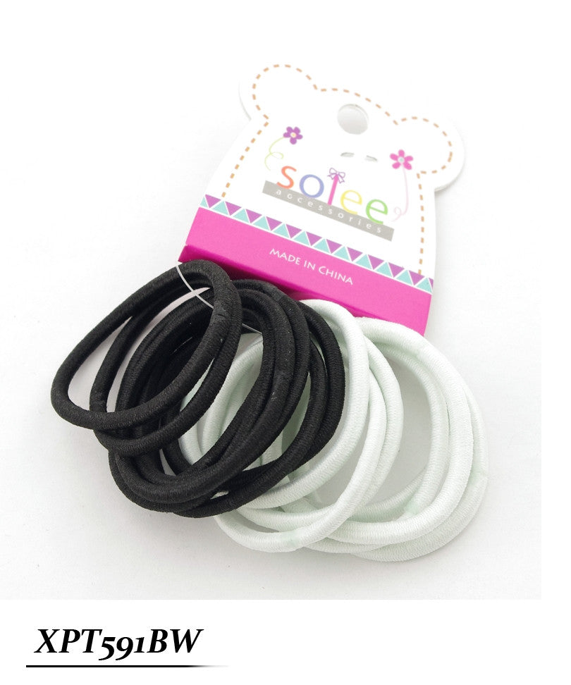 15 PC Black and White Thick Ponytail Holder