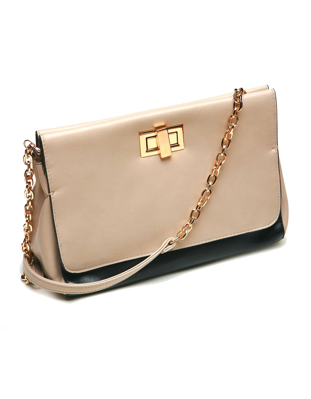 Taupe over Black Shoulder Bag
