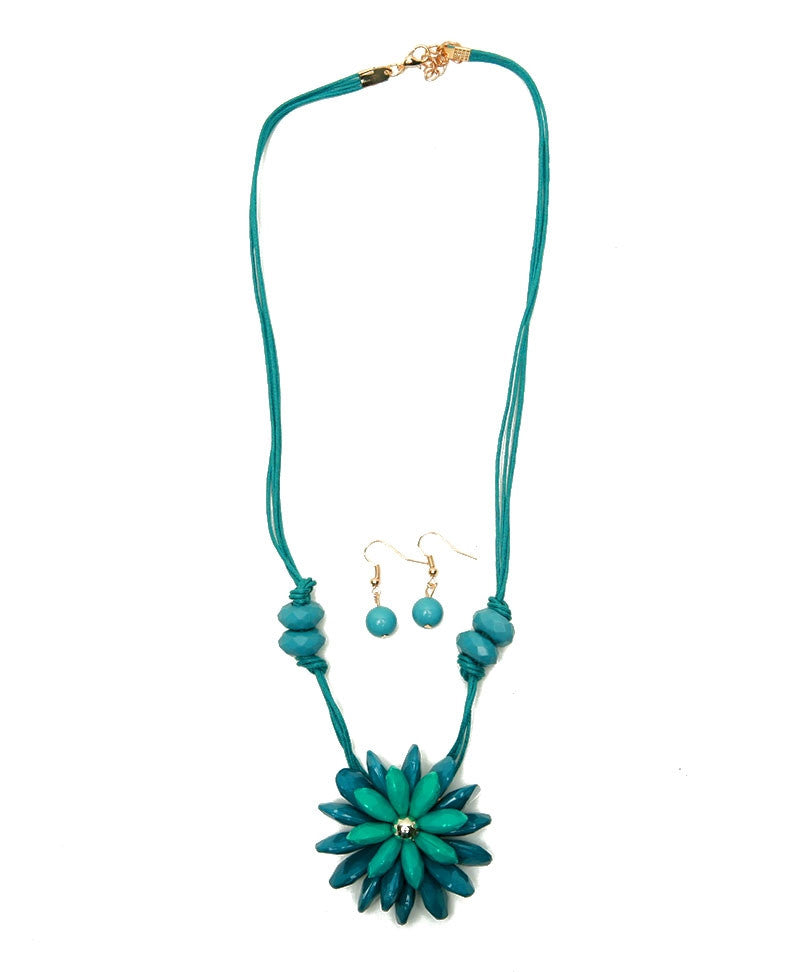 Rope Flower Necklace with Earring