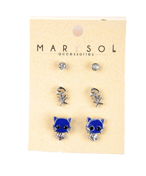 Diamond, Fishbone, Cat Earring Set