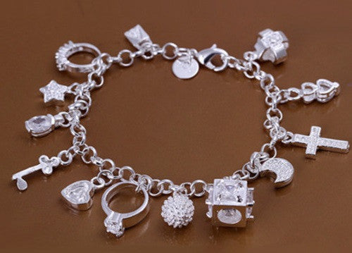 Silver Plated 13 Charms Chain Bracelet