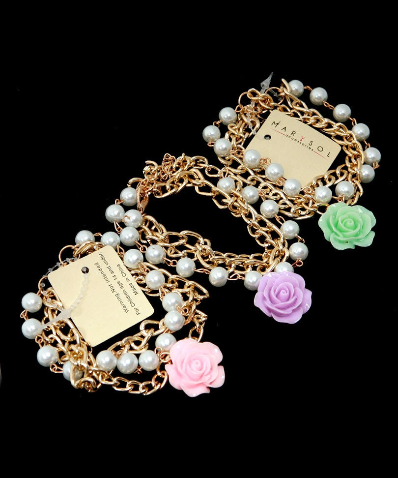 Triple Chain Rose Bead Bracelet