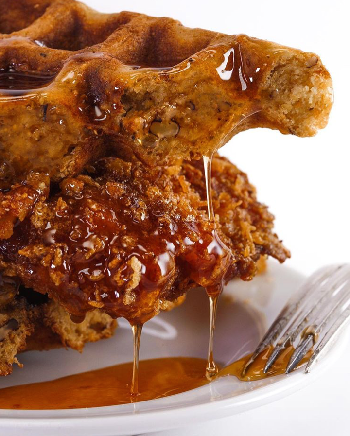 Rachael Ray's Cornflake Fried Chicken & Waffles with Pecans