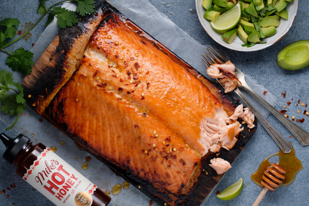 Hot Honey Cedar Plank Salmon