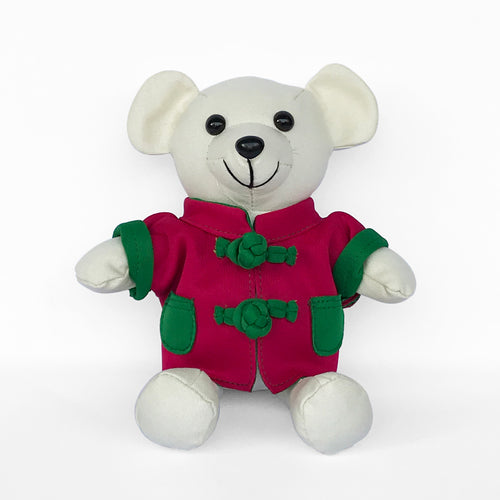 Bear with Fuchsia Chinese Jacket, Ivory