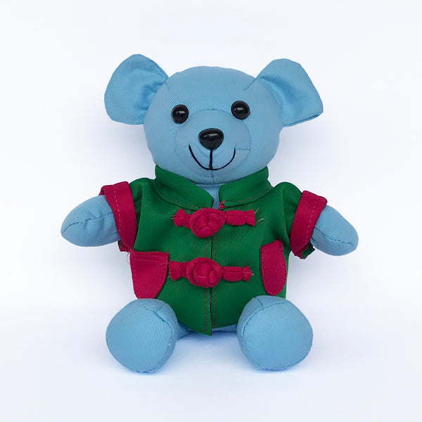 Bear with Green Chinese Jacket, Light Blue