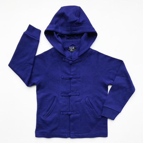 Chinese Collar Hooded Kids Jacket, Royal Blue