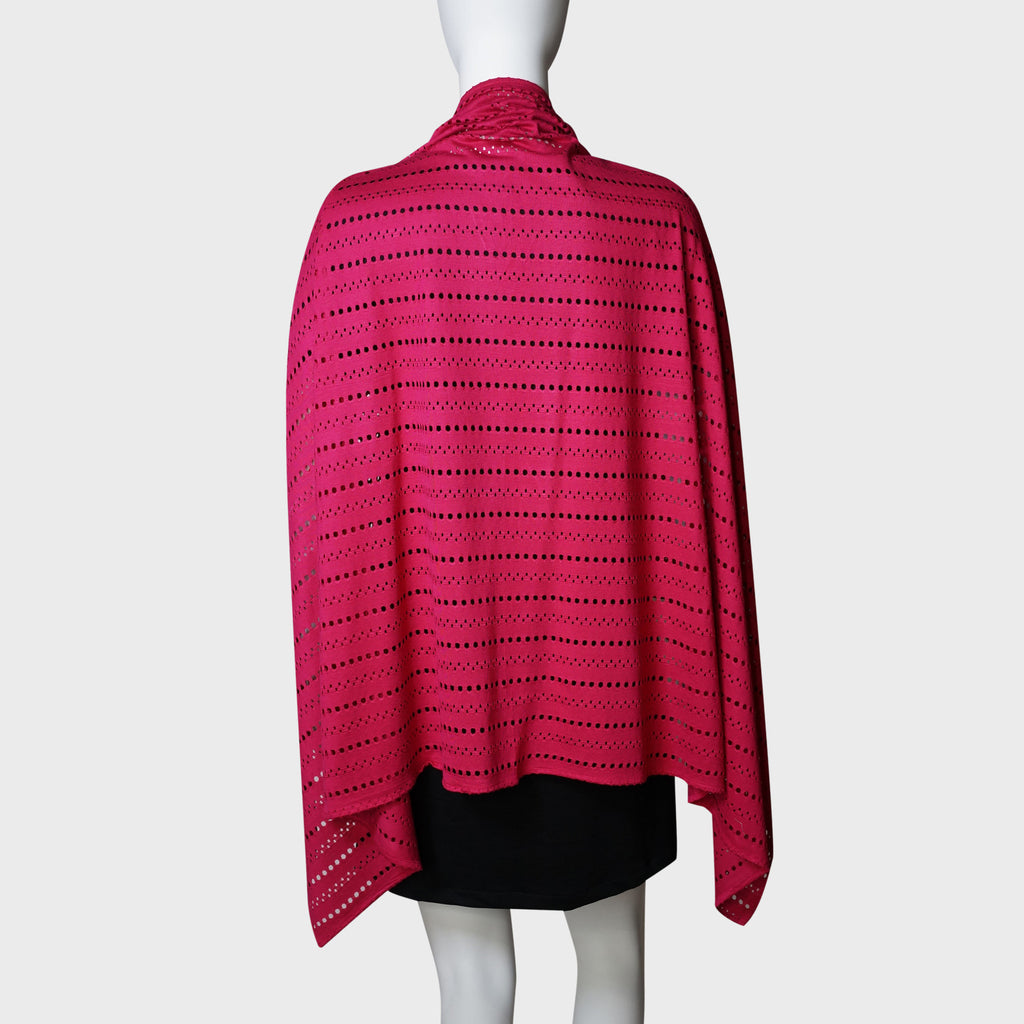 'Wai Ying' cape shawl (Crimson Pointelle)