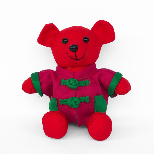 Bear with Fuchsia Chinese Jacket, Red