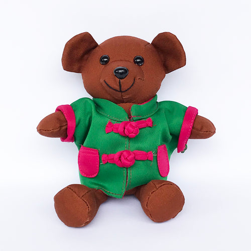 Bear with Green Chinese Jacket, Brown