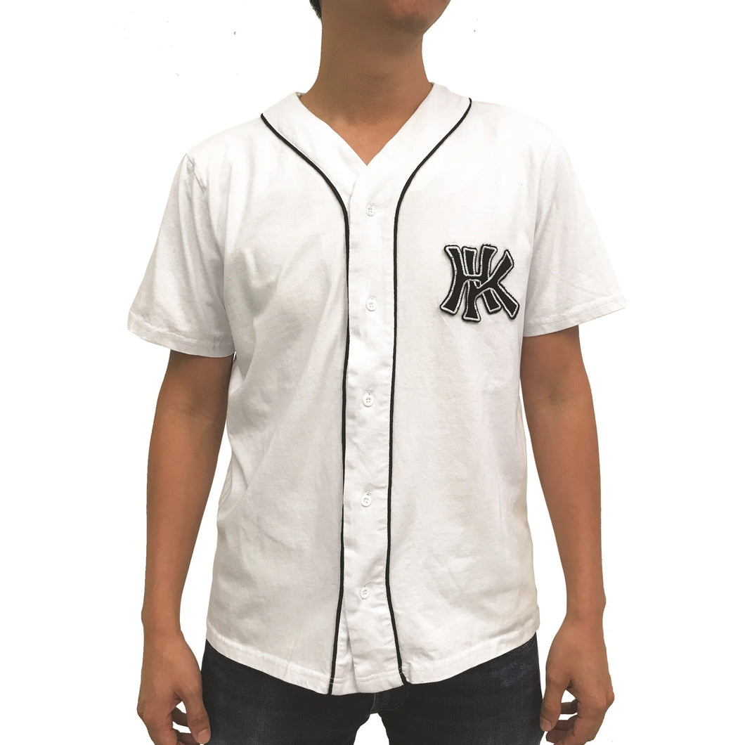 'HK' Jersey Baseball Shirt, White