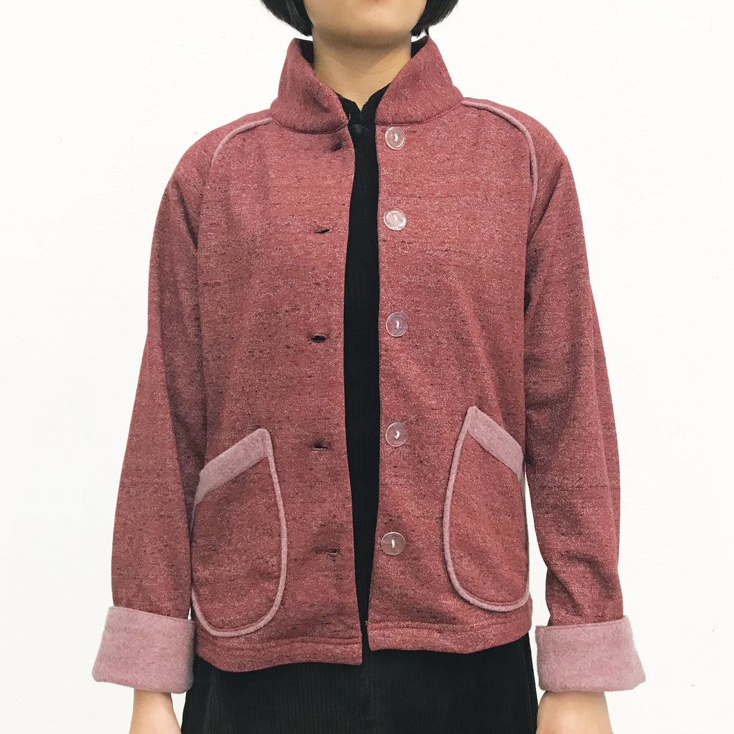 Chinese Collar Fleece Sung Jacket, Red
